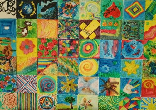 """Collage von Kindern der Sophie-Scholl-Schule unter dem Motto """"Wir sind Kinder einer Welt"""""""